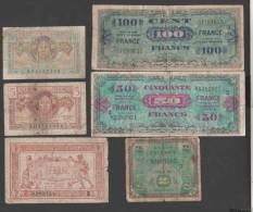 France - Trésor -  Lot De 6 Billets  ( 1 Fr, 5 Et 10 Frs Et Libération  2 Frs  50 Et 100 Frs )   TRES USAGES - Tesoro
