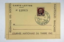 France Carte Lettre Journée Nationale Du Timbre 1943 - France