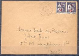 LETTRE Cachet PAIMPOL Cotes Du Nord  Le 4 4 1941  Avec 2 Timbres Type PAIX 50c Sur55c  Attaches - 1932-39 Paix