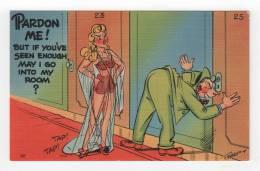 FABER Linen Vintage Postcard - Pardon Me! [#A0372] - Comics