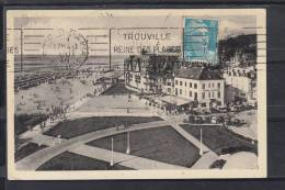 FRANCE 14.(CALVADOS ).CPSM. TROUVILLE,LES GRANDS HOTELS SUR LA PLAGE  VOYAGÉE.AVEC TIMBRE 1949 - Trouville