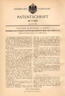 Original Patentschrift - Roussel & Dufrien In Paris , 1899 , Lenkung Für Spielzeug , Tiere , Boote , Wagen !!! - Toy Memorabilia