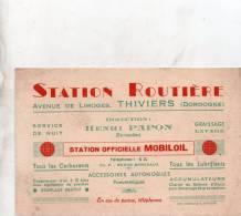 """Thiviers 24 ,carte Publicitaire Ancienne """" Station Mobiloil, Station Routiere Avenue De Limoges - Publicités"""