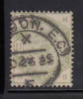 Great Britain Used Scott #107 1sh Victoria, Green Position HB - 1840-1901 (Victoria)