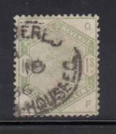 Great Britain Used Scott #107 1sh Victoria, Green Position QF - Oblitérés