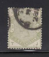Great Britain Used Scott #107 1sh Victoria, Green Position TJ - Nibbed Perf - 1840-1901 (Victoria)