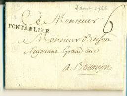MARCOPHILIE DOUBS - PONTARLIER - LENAIN N°2 - 1701-1800: Precursors XVIII
