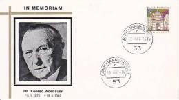 BRD Sonderkuvert Zum Tod Von Adenauer Mit Bonn-Tannenbusch-Stempel Vom Todestag (19.4.67) - BRD
