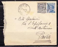 Italia 1922-Lettera Da Verrès A Pavia -Aff.con Varietà Cent 25 - Marcofilía
