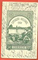 C1285 Exposiçao Nacional 1908 50 Correio REIS. Circulé En 1908, Timbre Manque. - Brazil