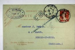 France Mars 1916 Paris A Bergen Op Zoom Pays Bas, Cachet Censuur Gepasseerd A Pays Bas - Biglietto Postale