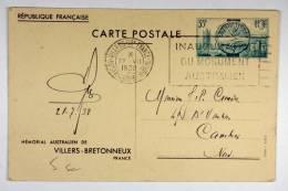 France 1938 Memorial Australian De Villers-Bretonneux - Biglietto Postale