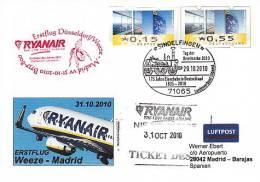 Erstflugpost - Ryanair - Düsseldorf - Madrid - 31.10.2010 [dy94] - Luftpost