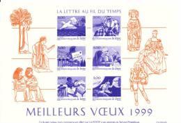 La Lettre Au Fil Du Temps - Facsimile Des Timbres Correspondants - Voeux De Le Poste 1999 - Documents De La Poste
