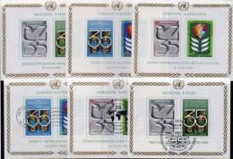 35 Jahre UNO Flaggen Friedenstaube 1980 Wien Block 1 Genf Bl.2 New York Bl.7 **/o 8€ Flagge Bf Flag Bloc Wap Sheet Of UN - Drapeaux
