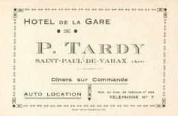 SAINT-PAUL-DE-VARAIX HOTEL DE LA GARE P. TADRY - Visiting Cards