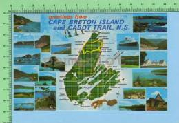 Greetings From (  Cape Breton Island And Cabot Trail Nova Scotia ) West Indies Post Card Carte Postale - Cartes Géographiques