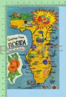 Greating From ( Florida Map  ) Post Card Carte Postale - Cartes Géographiques