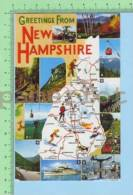 USA Greeting From ( New Hampshire Map And Multi-view ) Post Card Carte Postale - Cartes Géographiques