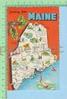 Used In 1973 USA Greeting From (Maine  Map ) Post Card Carte Postale - Cartes Géographiques