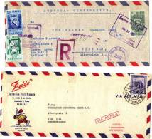 2 LETTRES  PAR AVION - CARACAS ET BARCELONA - VENEZUELA POUR AUSTRIA - AUTRICHE  1952 ET 1954 - Venezuela