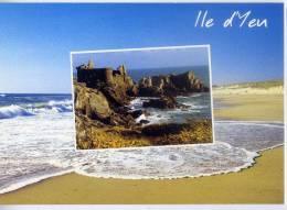 ILE  D' YEU--Plage Et Vue De Ruines ,cpm éd Combier - Ile D'Yeu