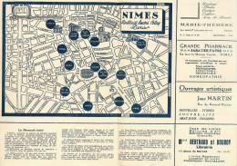 PLAN MONUMENTALE DE NIMES GRAND HOTEL DU CHEVAL BLANC 30 GARE CARTE GEOGRAPHIQUE PUBLICITE KODAK PATISSERIE... - Topographical Maps