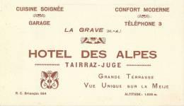 HOTEL DES ALPES TAIRRAZ-JUGE 05 HAUTES-ALPES - Publicités