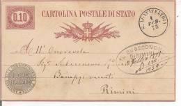 STORIA POSTALE, CARTOLINA POSTALE DI STATO, LIRE 0,10, VIAGGIATA  1878 , S.AGATAFELTRIA / RIMINI, - 1861-78 Vittorio Emanuele II
