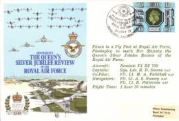 GB - Queen´s Silver Jubilee RAF Review  -  Flown FDC - Avions