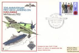 GB  -  20th Anniversary First Deck Landing On HMS Eagle   -   Flown  FDC - Aviones