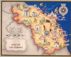 Carta Turistica Iconografica Marche E Repubblica San Marino - Mappe