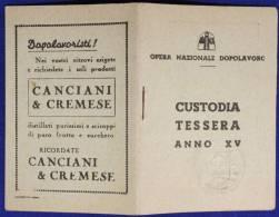 TESSERA FASCISTA Agente Ferroviario CON CUSTODIA OND ANNO XV BOLOGNA #T35 - Documenti Storici
