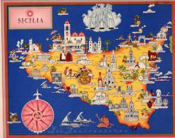 Carta Turistica Iconografica SICILIA - Mappe