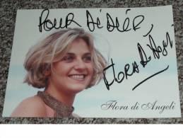 Rare Ancien Autographe Carte Dédicacée Flora Di Angeli Dédicace Chanteuse - Autographes