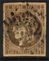 *PROMO* 30c Bordeaux Avec Variété ´R´ Touchant Le Cadre à -35€ ! (Dallay N° 47e , Cote 500€) - 1870 Emission De Bordeaux