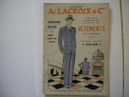 CALAIS CATALOGUE MAISONS Ad.LACROIX & Cie VETEMENTS 42 BOULEVARD JACQUARD - Publicités