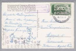 Heimat DE BW Schwarzenbach 1957-07-06 Ablagestempel Auf PK über Altensteig - Lettres & Documents