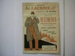 LE CATEAU CATALOGUE Ad.LACROIX & Cie VETEMENTS 15 PLACE SADI CARNOT - Publicités