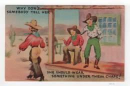"Linen Vintage Postcard - ""She Should Wear Something Under Them Chaps!"" [#A0376] - Comics"