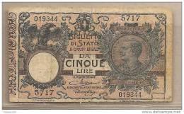 Italia - Banconota Circolata Da 5 Lire - 1923 - [ 1] …-1946 : Regno