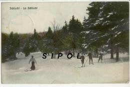 La Schlucht Skieurs Et Skieuse Dans Une Clairière  Voyagé 1909 Cachet Martin Bresch  Stosswihr& Altenberg - Winter Sports