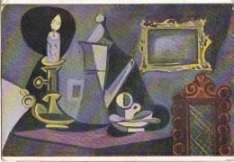 AK KÜNSTLEKARTEN PABLO PICASSO : STILLEBEN IM KERZENLICHT ,EDIT.NOMIS,PARIS.ALBERT LAMPL, Nr.6230.OLD POSTCARD 1949 - Picasso