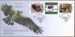 Bangladesh 2012 FDC Indonesian & Bangladesh Birds World Stamps Exhibition Eagle Vogel - Collezioni & Lotti
