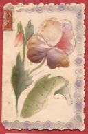 C1290 Poisson D'avril.Carte Double En Papier Soyeux En Relief.Cachet 1910,Affranchissement Frontal - Erster April