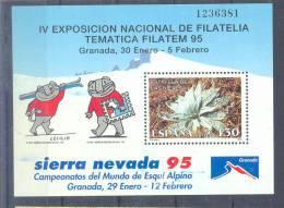 "A Le Faciale "" Championnats Du Monde De Ski Alpin, à Grenade "" Espagne 1995 Yvert  Bloc 62 Xx - Ski"