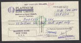 PAKISTAN Cheque Platinum Bank Karachi 10-1-2003 - Bank & Insurance
