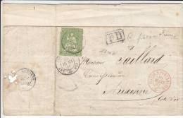 Nr 17II, PD, Lettre De Neufchatel AAuxonne, Suisse A Pontarlier (X22169) - 1854-1862 Helvetia (Non-dentelés)