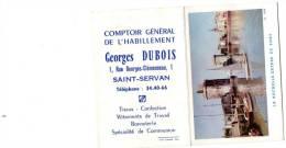 Calendrier Petit Format 12 X 9 Année 1962, Georges Dubois, SAINT SERVAN (35) - Klein Formaat: 1961-70