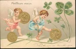 Meilleurs Voeux - Pièces Françaises   (carte Gauffrée) - Monnaies (représentations)